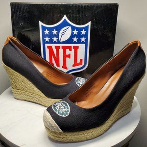Cuce Shoes New York Jets Espadrille Wedge Sz 9.5